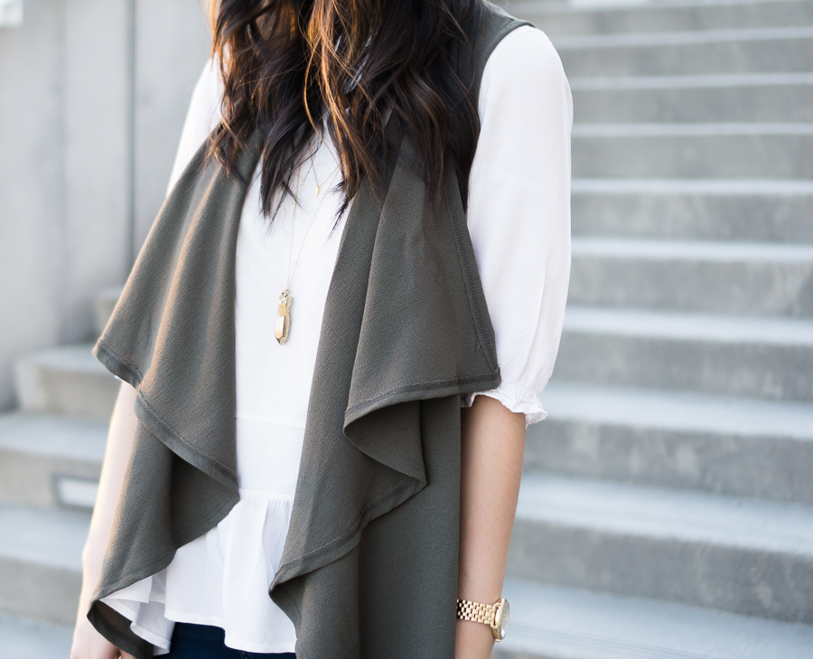 cute casual outfit, drape vest, olive waterfall cardigan