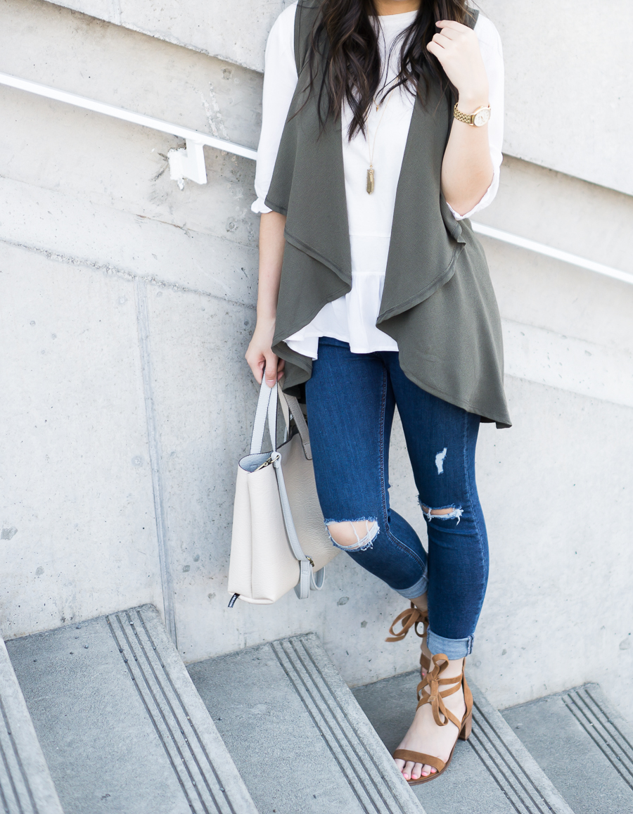 cute casual outfit, drape vest olive waterfall cardigan, topshop skinny jeans, suede lace up sandals, petite fashion blog