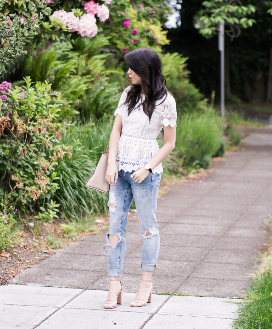 peplum lace top, skinny ripped jeans, nude ankle strap sandals, spring fashion outfit