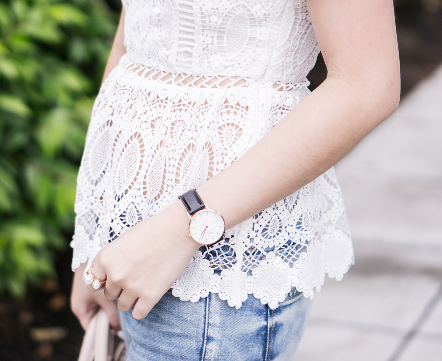 peplum lace top, daniel wellington watch