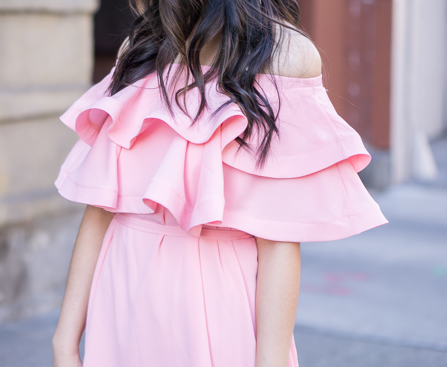 pink ruffle dress, off the shoulder dress outfit, spring fashion