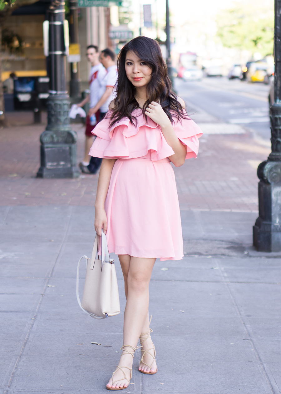 pink ruffle dress off the shoulder dress outfit gladiator sandals spring fashion  sc 1 st  Just A Tina Bit & Pink Ruffle Dress | Just A Tina Bit