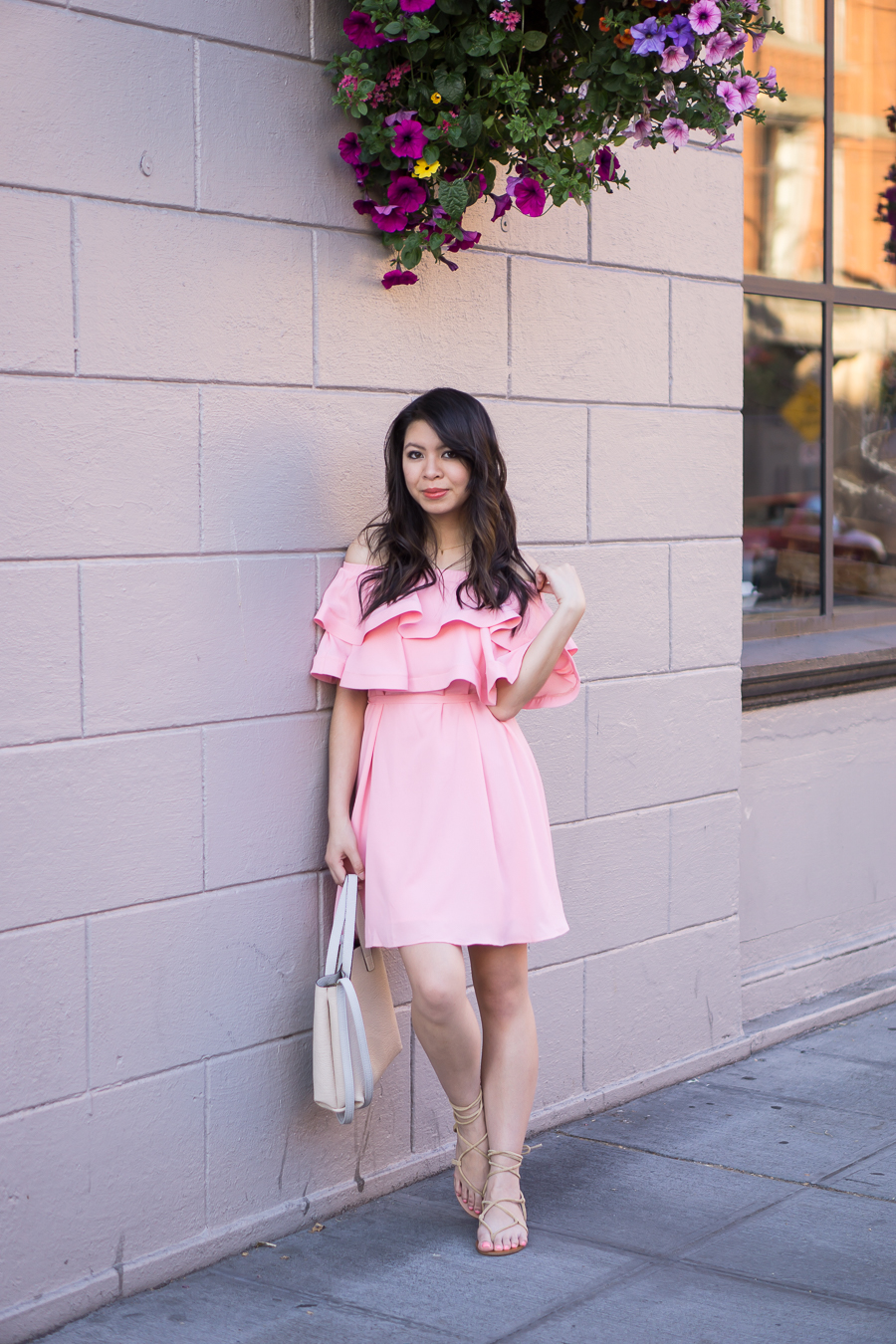 pink ruffle dress, off the shoulder dress outfit, gladiator sandals, spring fashion