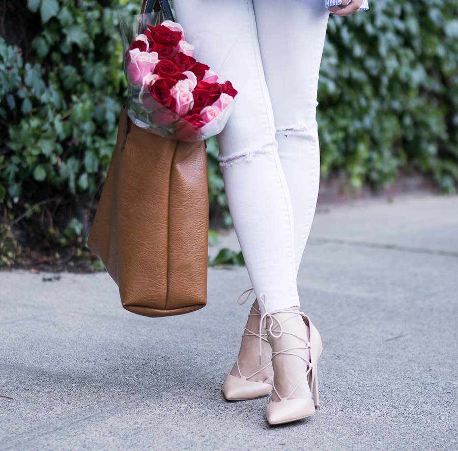 white jeans, lace up pumps