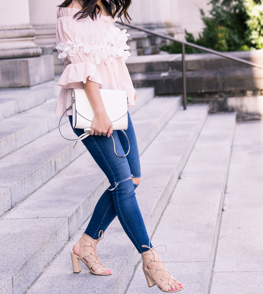 Cute and casual summer outfit wearing a blossom cute off the shoulder top and Ivanka Trump Kavita heels