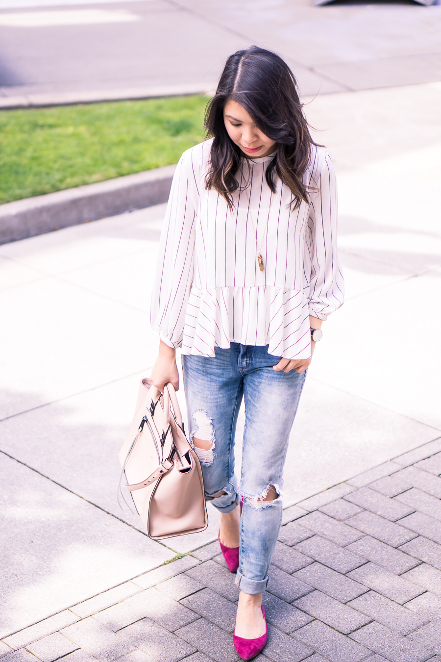Casual outfit with striped peplum top, distressed skinny jeans, and pointy toe flats - Petite fashion blog