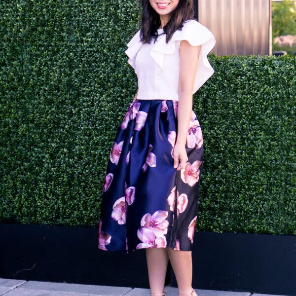 floral midi skirt, ruffle crop top, cute summer outfit, petite fashion blog