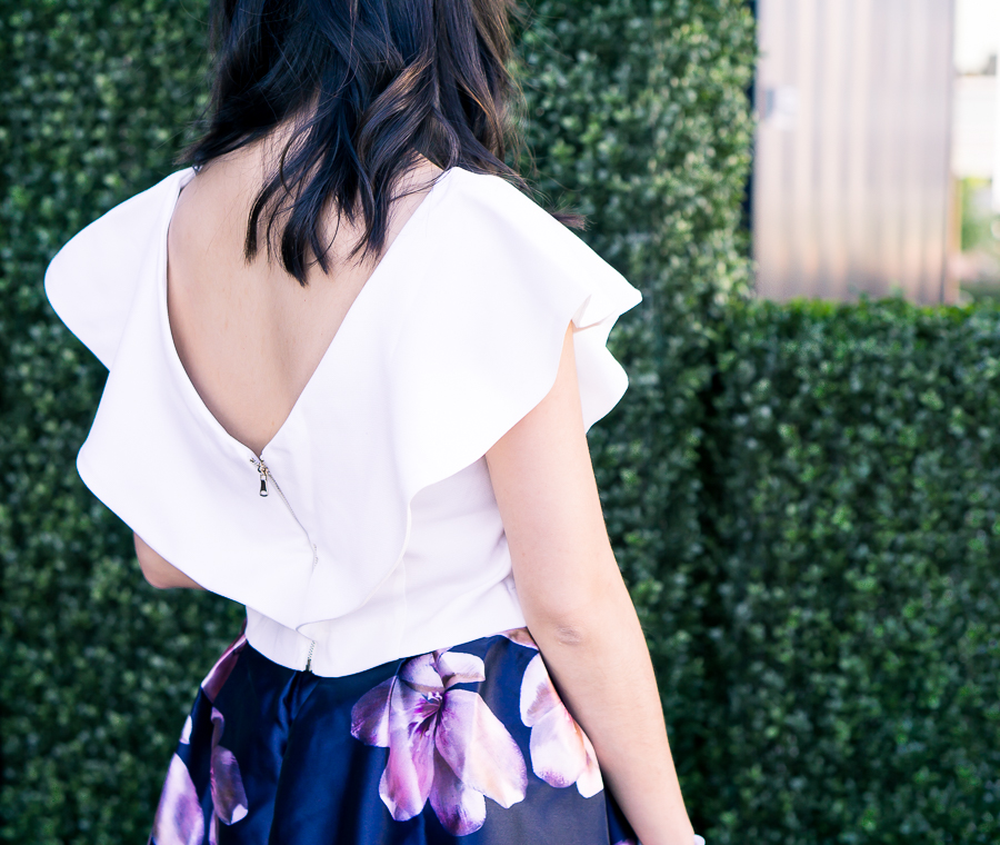 ruffle crop top, cute summer outfit, petite fashion blog