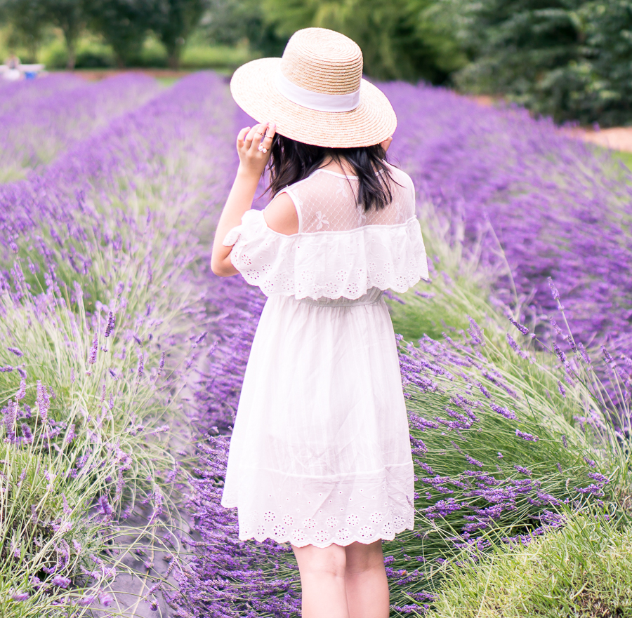 Frolicking in the Woodinville lavender fields in a cute white cold shoulder dress and straw hat - petite fashion blog