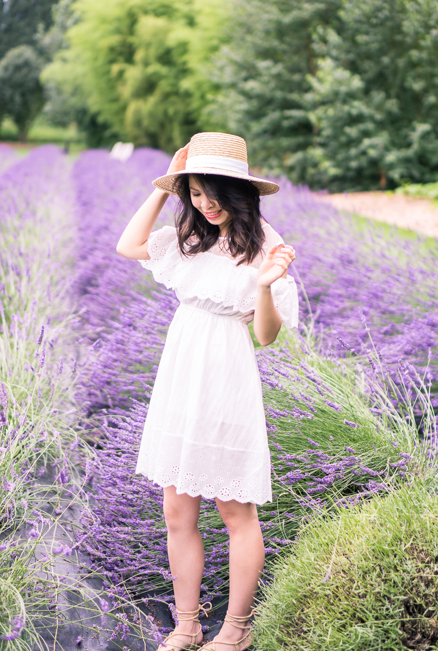 Frolicking in the Woodinville lavender fields in a cute white cold shoulder dress, straw hat, and gladiator sandals - petite fashion blog