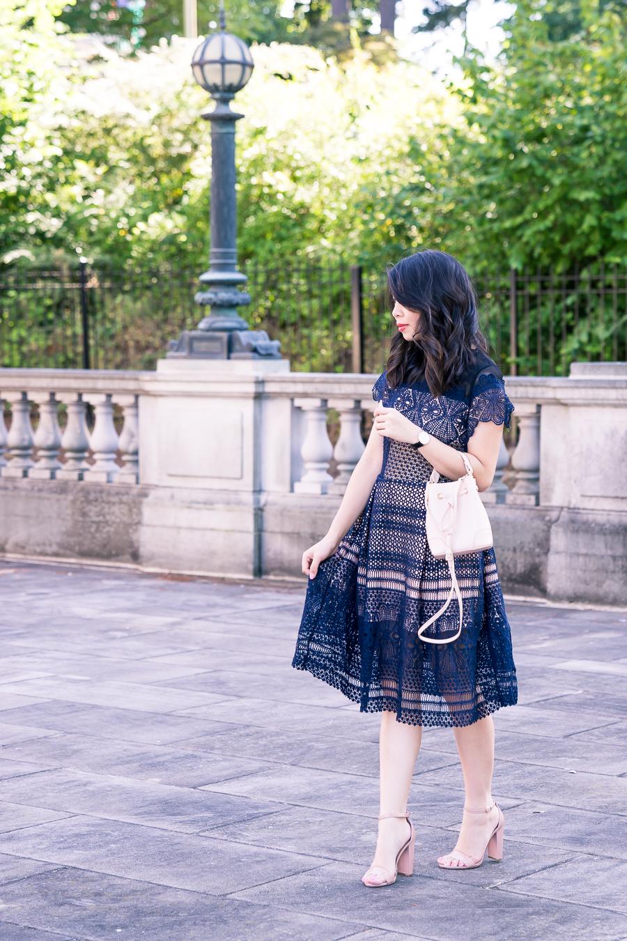 navy lace dress outfit, furla bucket bag, ankle strap sandals, petite fashion blog