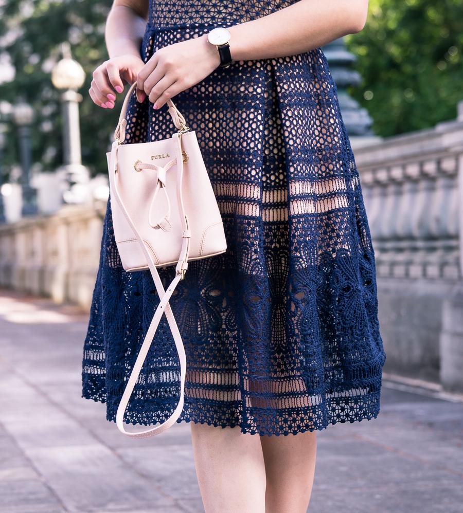navy lace dress outfit, furla bucket bag, daniel wellington watch, petite fashion blog