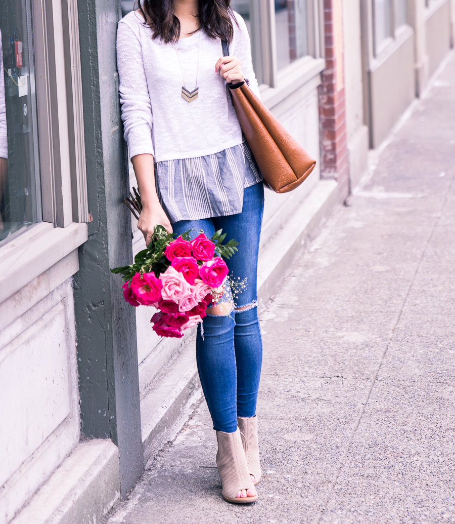 summer layered look sweater, peep toe booties, cute summer outfit, petite fashion blog