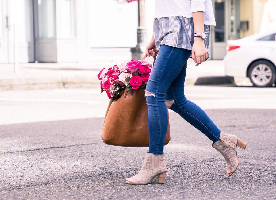 summer style, peep toe booties, petite fashion blog