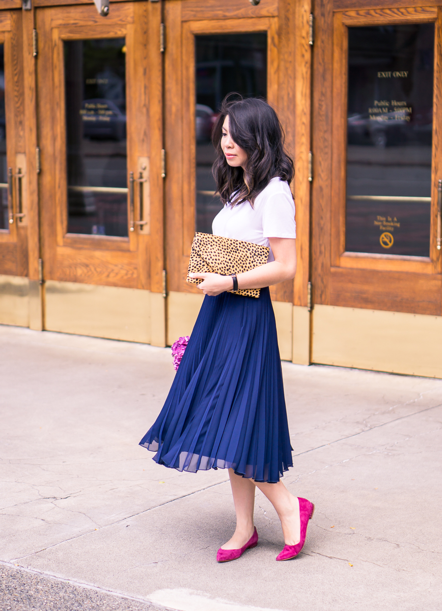 Pleated skirt with v neck tshirt and pointy toe flats - my picks from the Nordstrom Anniversary sale!