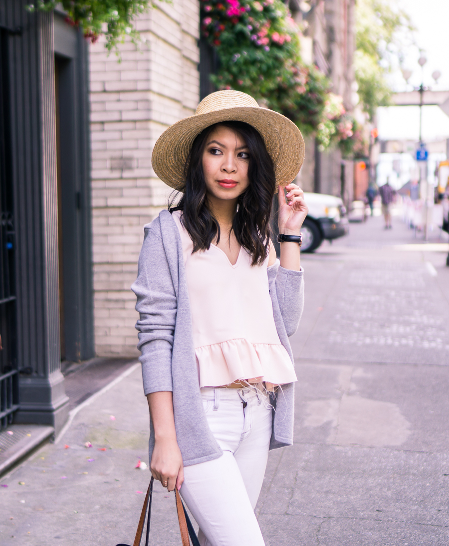 Summer outfit with cashmere cardigan sweater, ruffle tank with raw edge, skinny white jeans, and straw hat | Petite fashion blog
