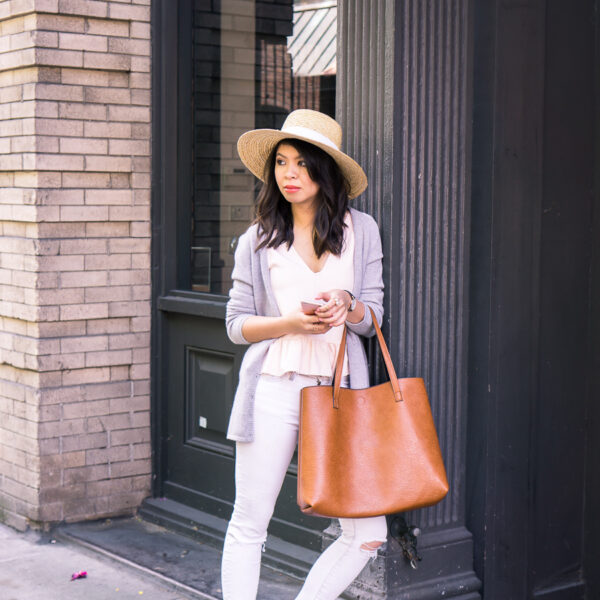 Summer outfit with cashmere cardigan sweater, ruffle tank with raw edge, suede lace up sandals, skinny white jeans, and straw hat | Petite fashion blog