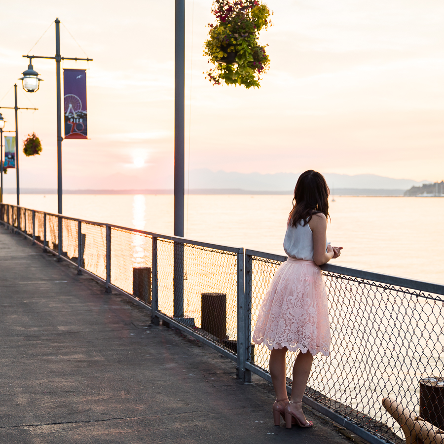 Chi Chi London Full Lace Skirt Outfit | Petite Fashion Blog | Seattle Waterfront Sunset