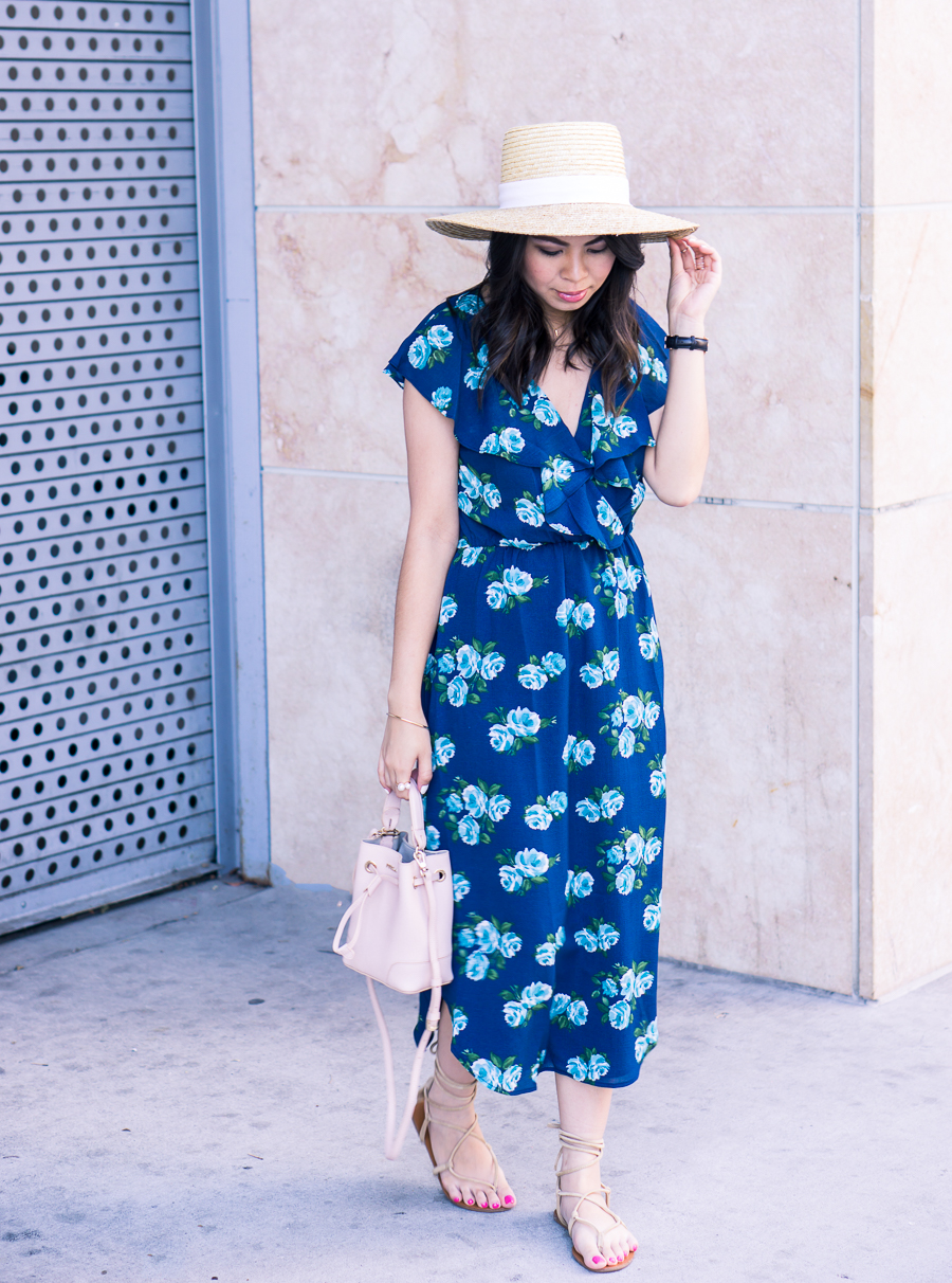 This floral midi dress paired with gladiator sandals and straw hat makes this the perfect casual summer outfit! Petite fashion blog