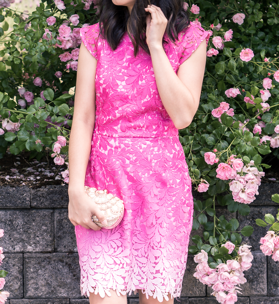 Pink ombre dress that's perfect as a wedding guest dress! Paired with nude ankle strap sandals| Just A Tina Bit - Petite Fashion Blog