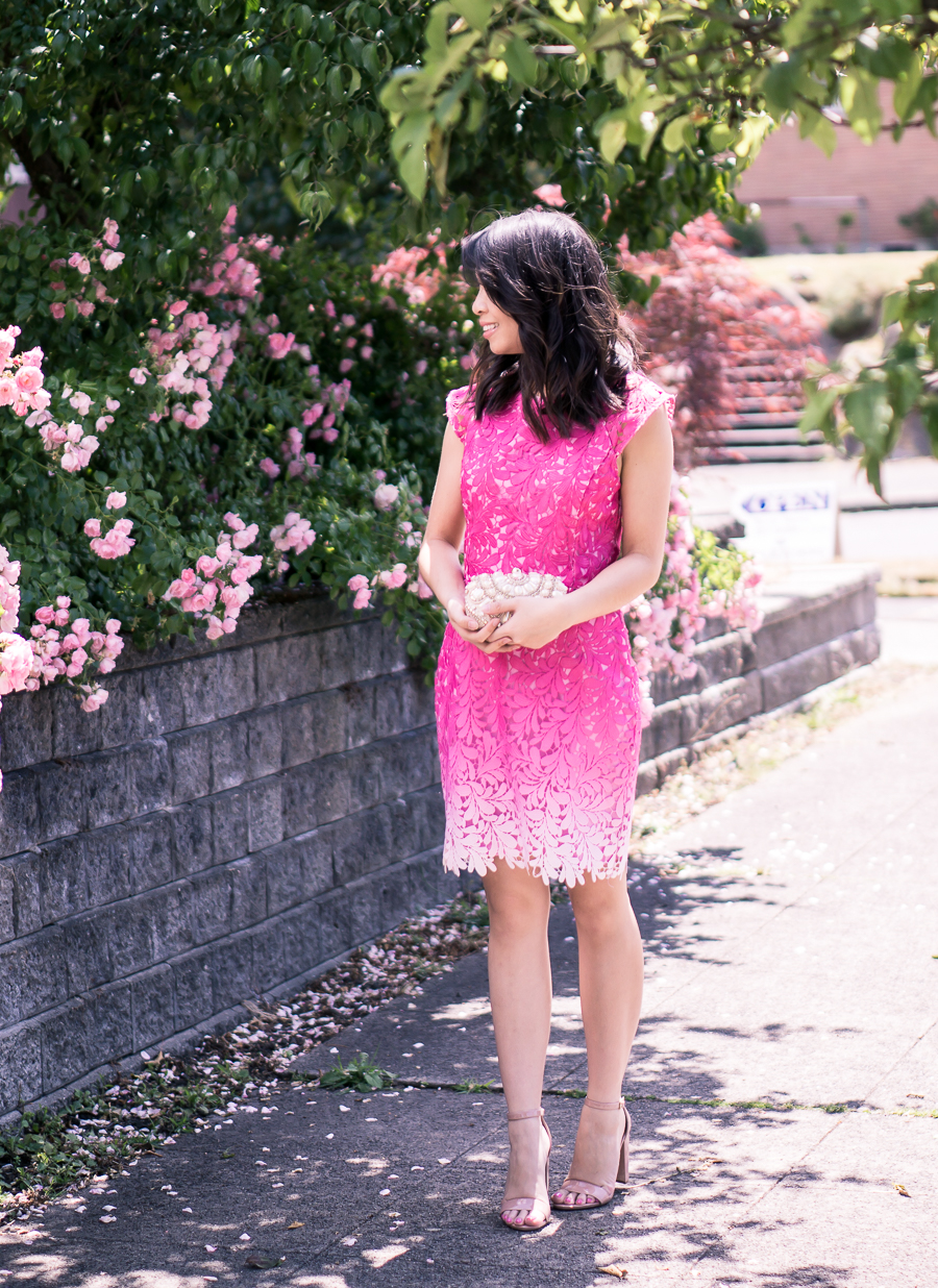 Pink ombre dress that's perfect as a wedding guest dress! Paired with nude ankle strap sandals | Just A Tina Bit - Petite Fashion Blog