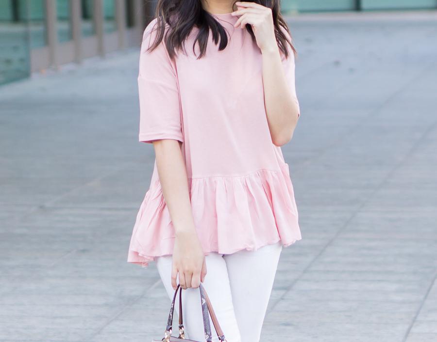 Pink ruffle cute tshirt