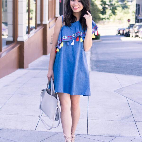 Tassel one shoulder dress, lace up sandals, summer outfit, petite fashion blog