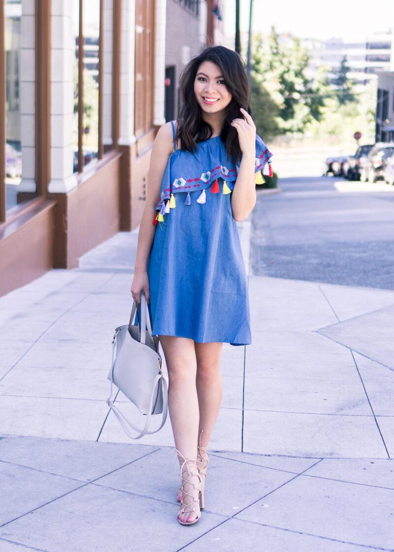 Tassel One Shoulder Dress