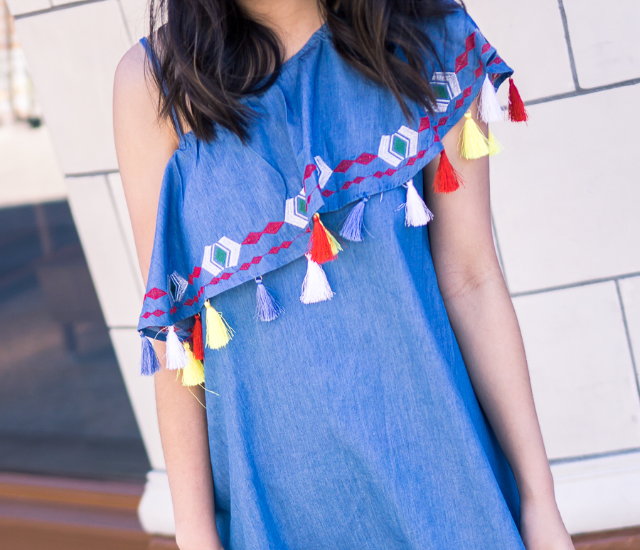 Tassel one shoulder dress, summer outfit, petite fashion blog
