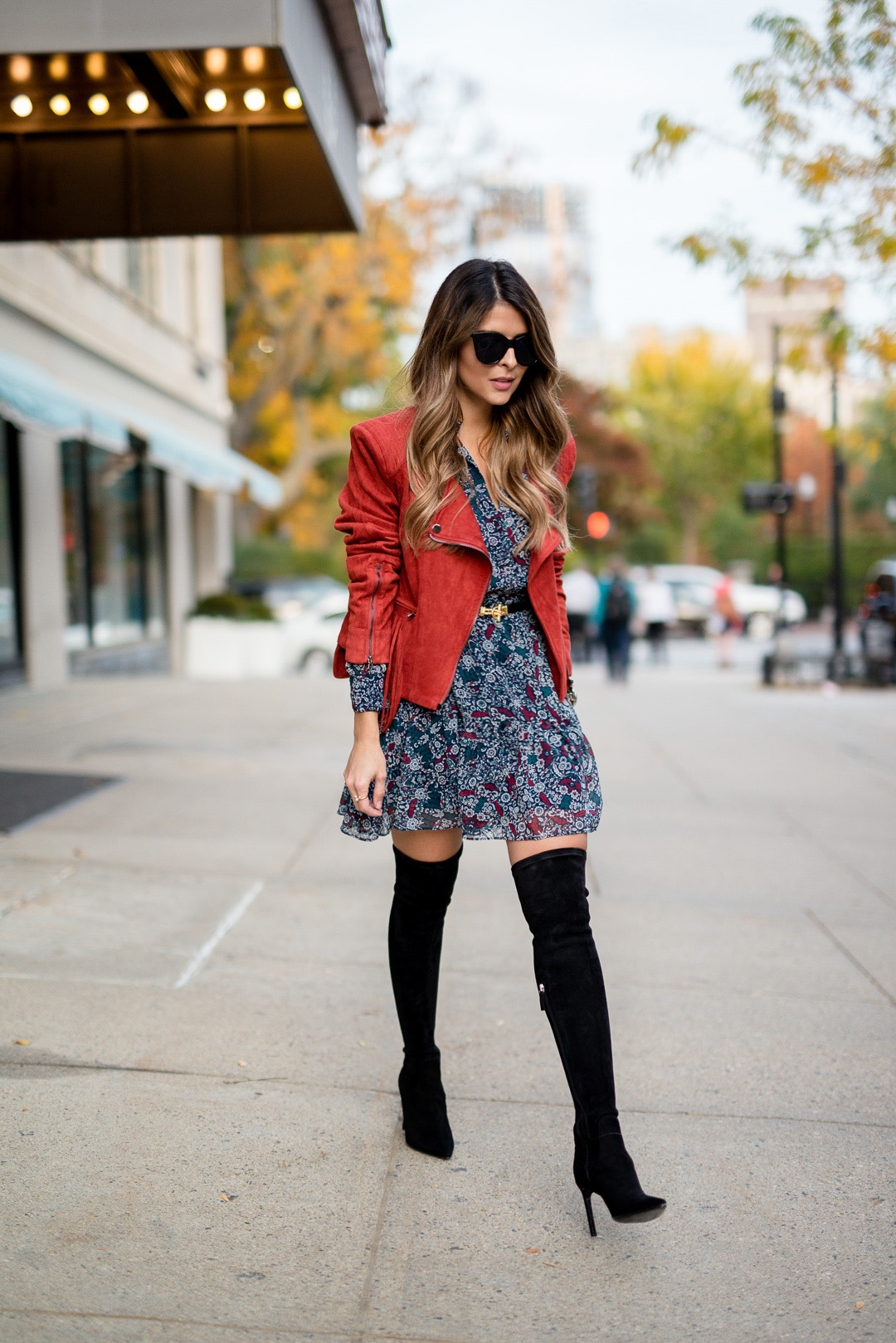 how to wear floral dress in fall