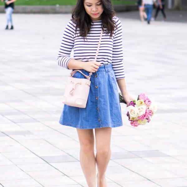 3 summer denim outfits, button up skirt, stripled top, petite fashion blog