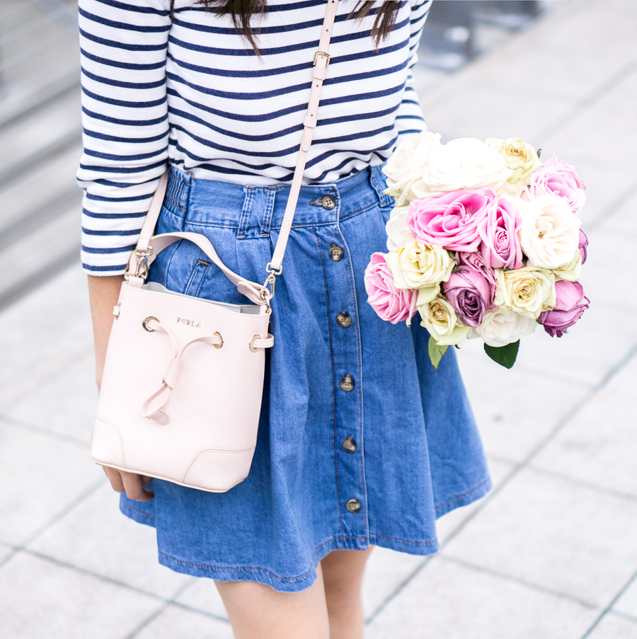 3 summer denim outfits, button up skirt, stripled top, petite fashion blog