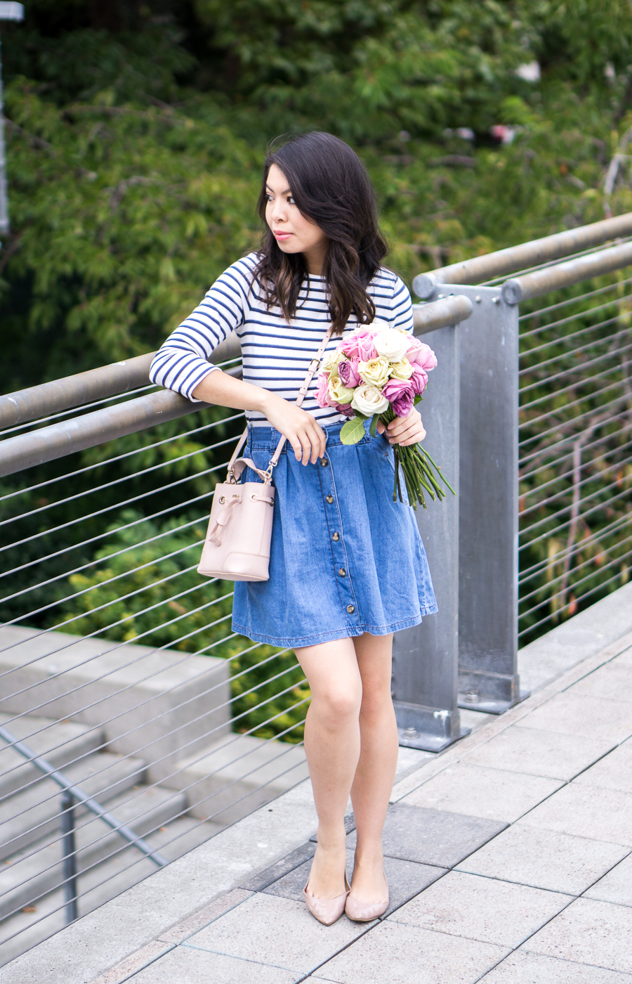 3 summer denim outfits, button up skirt, striped top, petite fashion blog