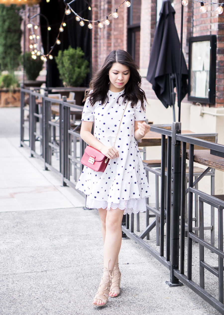 Asos Polka Dot Dress with Ruffle Hem