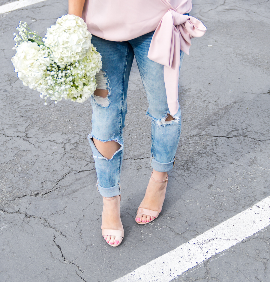 BLANKNYC distressed jeans, Steve Madden nude ankle strap sandals
