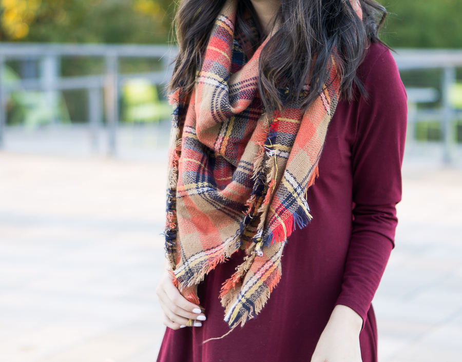 Fall outfit with autumn plaid scarf