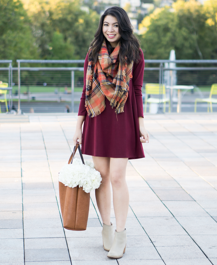 Fall outfit with burgundy dress, autumn plaid scarf, and booties | Petite Fashion Blog