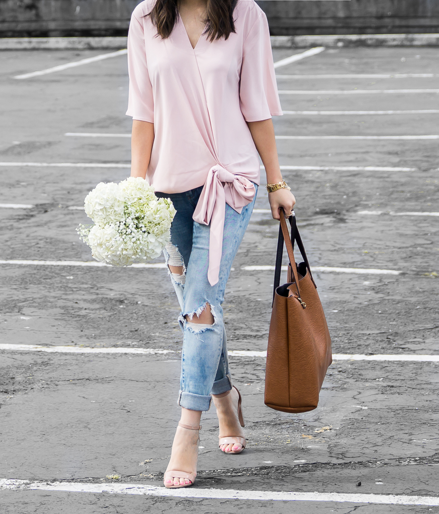 Wrap top blouse, BLANKNYC distressed jeans, nude ankle strap sandals, casual chic outfit, petite fashion blog