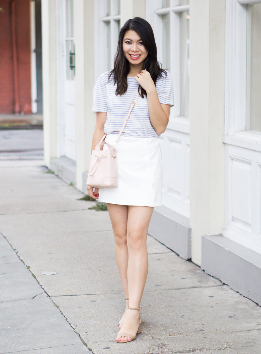 bb521225b White skirt outfit with Topshop scallop mini skirt, Banana Republic puff  sleeve tee | Petite