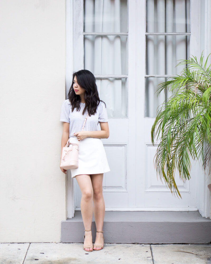 Scallop White Skirt Outfit in New Orleans