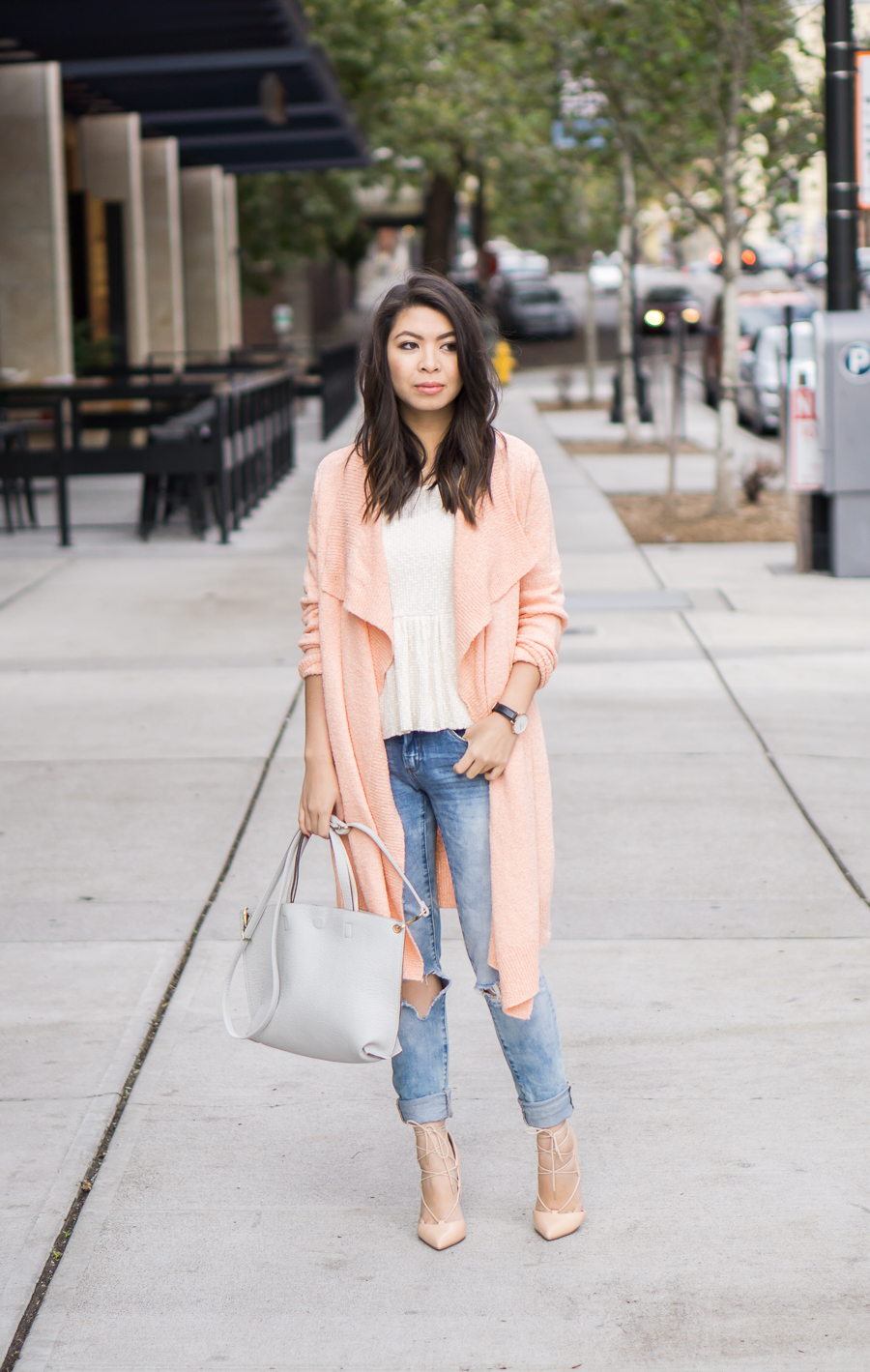 Asos pink cardigan sweater, distressed skinny jeans outfit, petite fashion blog