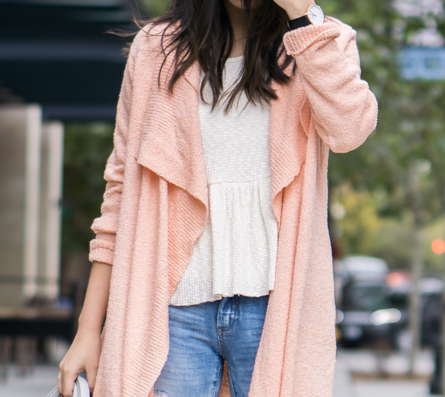 Asos pink cardigan sweater