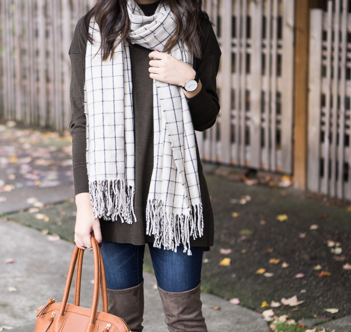 Asos Sweater, Checked Scarf, Casual Fall Outfit, Petite Fashion Blog