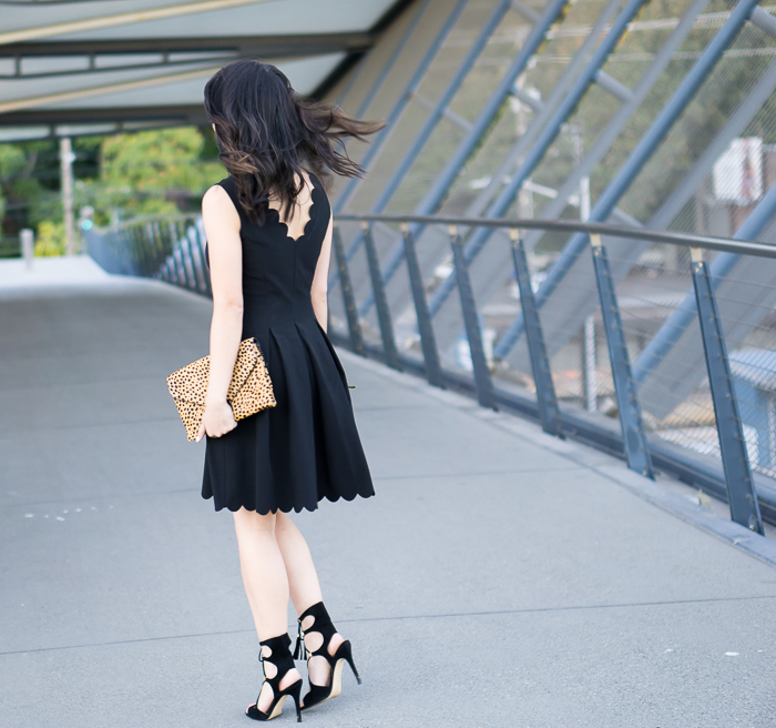 Black scalloped dress, lace up sandals, petite fashion blog