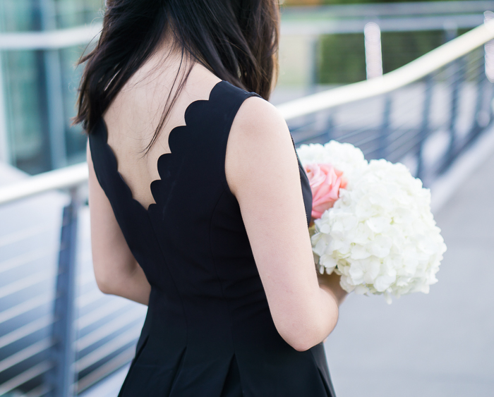 Black scalloped dress, petite fashion blog