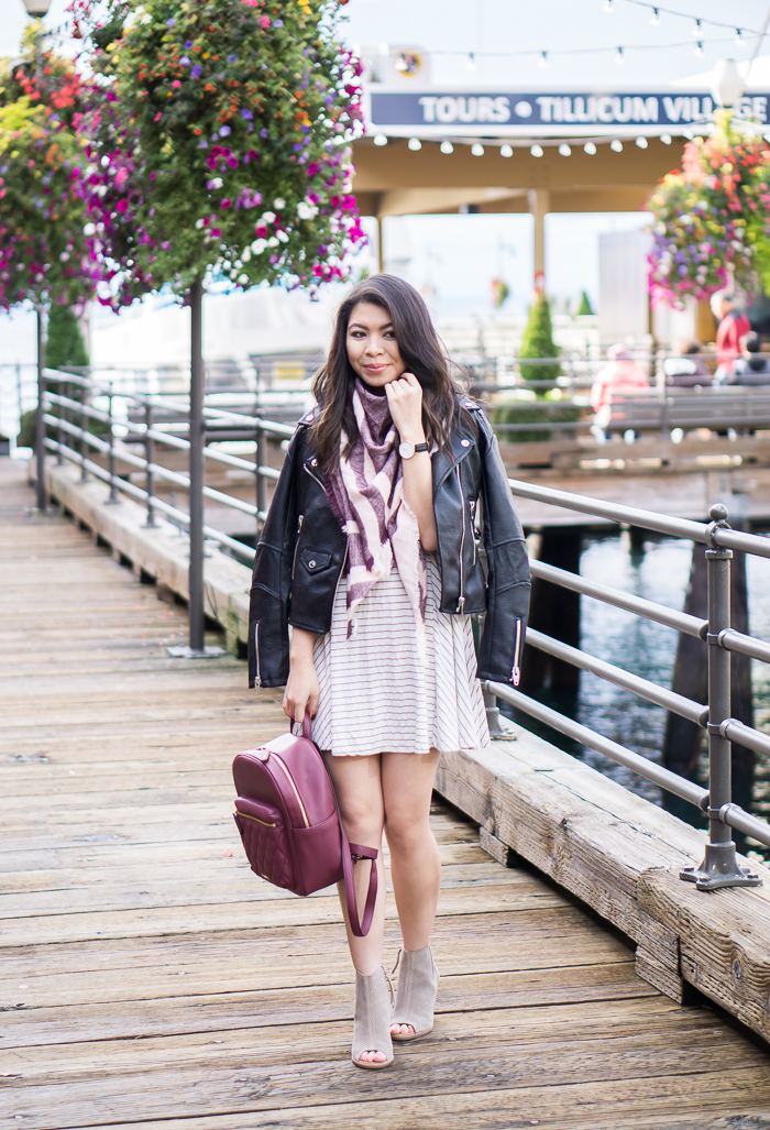 Black leather jacket, striped dress, peep toe booties, and backpack, fall outfit, petite fashion blog