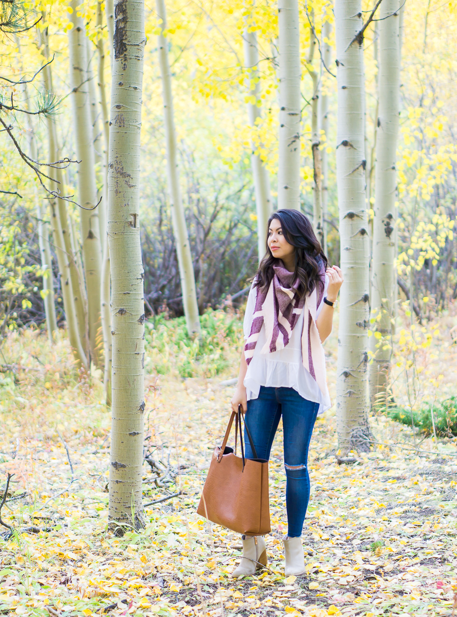 Striped scarf, cute fall outfit in Colorado Springs Pikes Peak with fall foliage, petite fashion blog