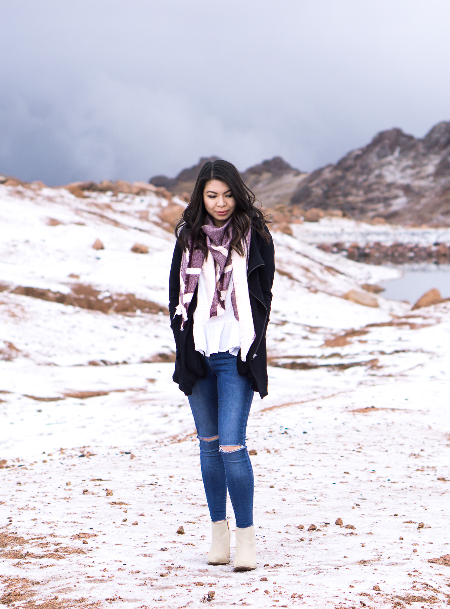 Striped scarf, cute fall outfit in Colorado Springs Pikes Peak with snow, petite fashion blog