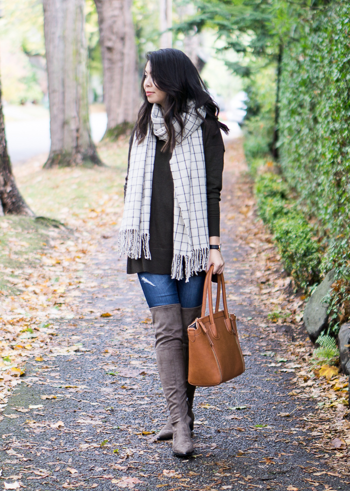 Marc Fisher Yenna Over The Knee Boots, Asos Sweater, Checked Scarf, Casual Fall Outfit, Petite Fashion Blog