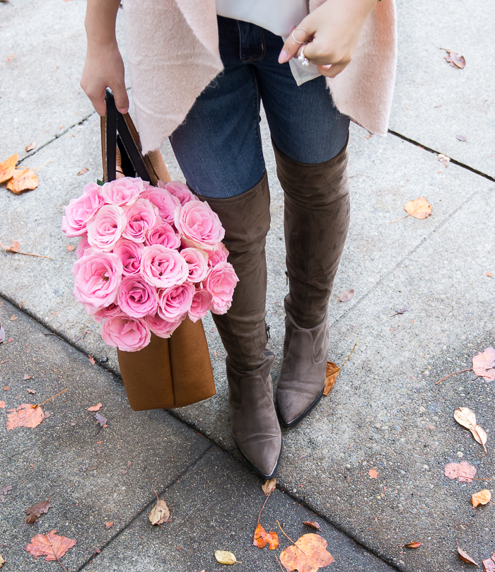 Over the knee boots, casual cute outfit, fall fashion, petite fashion blog